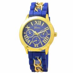 Yika Geneva Women's Chain Silicone Roman Numerals Analog Quartz Wrist Watch (Blue) (Intl)