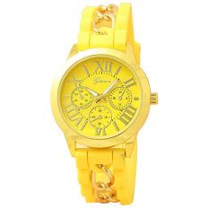 Yika Geneva Women's Chain Silicone Roman Numerals Analog Quartz Wrist Watch (Yellow) (Intl)