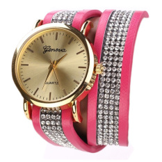 Yika Hot Fashion Women Synthetic Leather Sequins Button Round Casual Party Wristwatch (Skyblue)