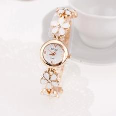Yika Women Daisies Flower (Rose) (Gold) Bracelet Wrist Watch (Pink)