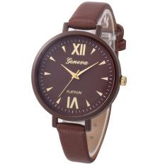 Yika Women Geneva Roman Leather Band Analog Quartz Wrist Watch (Brown) (Intl)