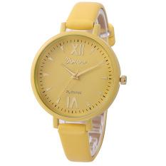 Yika Women Geneva Roman Leather Band Analog Quartz Wrist Watch (Yellow) (Intl)