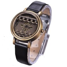 Yika Women Hot New Synthetic Leather Dress Watches Fenestration Retro Style Lady Wrist Watches (Black) (Intl)
