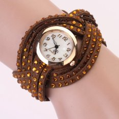 Yika Women Vintage Round Dial Rhinestone Weave Wrap Synthetic Leather Bracelet Wrist Watch Watches (Coffee) (Intl)