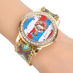 Yika Women's Braided Handmade Friendship Bracelet Quartz Wrist Watch (Green)