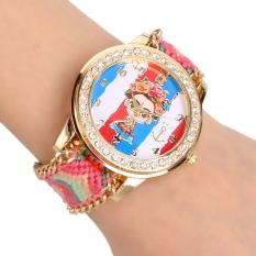 Yika Women's Braided Handmade Friendship Bracelet Quartz Wrist Watch (Red)
