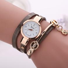 Yika Women's Men Fashion Ladies Faux Leather Rhinestone Analog Quartz Wrist Watches (Brown) (Intl)