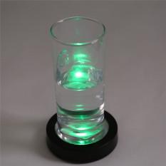 Yingwei 360DSC Round Shape LED Light Up Coasters Light Flash Cup Mat - Black Shell + Colorful Light - Intl
