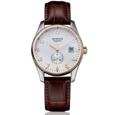 YJJZB Switzerland Ochstin Genuine Men Classic Business Really Belt Quartz Watch Male Watch Steel Waterproof Watch Calendar (Gold)