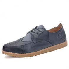 "Young British Men""s Business Casual Shoes Breathable Lace Shoes Influx Of Men (Grey) ' - Intl"