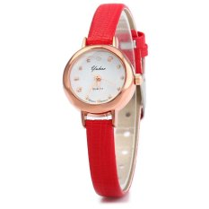 YUHAO Women Quartz Watch Slim Leather Band Bead Scales (Red) - Intl
