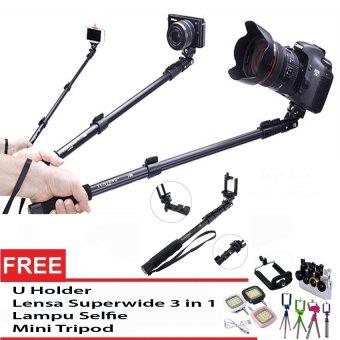 Yunteng YT-188 Tongsis Selfie Stick Monopod + UHolder + Lensa Superwide + Lampu Selvi