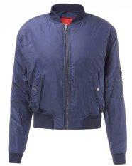 ZANZEA Short Bomber Jacket Casual Thin Zip Padded Coat Outerwear Boyfriend Women Trendy (Intl)