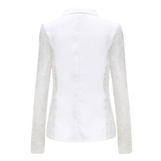 ZANZEA Women Lace Crochet Splicing One Button Suit Blazer Coat White (Intl)