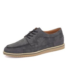 ZNPNXN Leather Men's Fromal Shoes Low Cut Shoes (Gray) - Intl