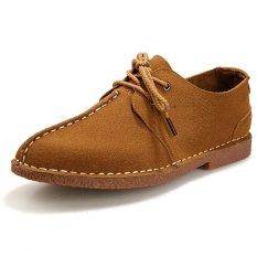 ZNPNXN Suede Men's Formal Shoes Low Cut (Khaki) - Intl