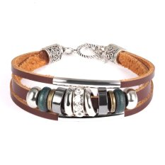 ZUNCLE Bohemian National Style Retro Leather Bracelet Wooden Beads Multi-Layer Rock Accessories For Men And Women (Brown) - Intl