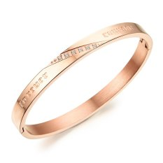 ZUNCLE Women Simple Atmospheric Diamond Bangles Fashion Lovers Titanium Steel Bracelet (Gold) (Intl)