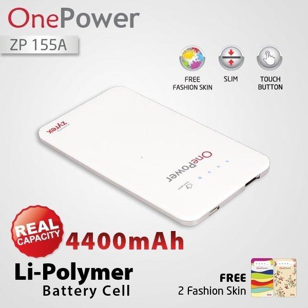 Zyrex OnePower Power BankZP155A - 4400 mAh - Putih