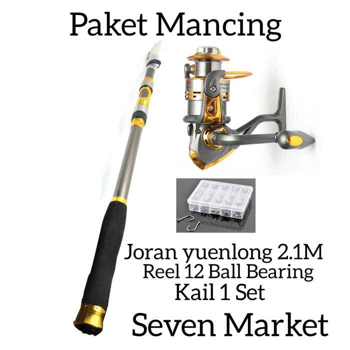 Paket Pancingan Joran 2.7M. Reel DB6000 12 Ball Bearing. Kail 1 Set - OF7EeP