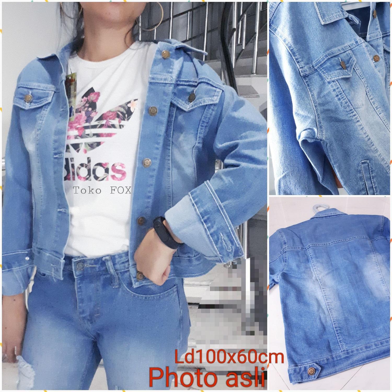 Fox- Jacket Jeans JUMBO/ PHOTO ASLI/ Jaket Denim BIru/ Jaket Jins/ Outer Denim/ Jeans LEVIS LEPIS BIRU2/JAKET JEANS