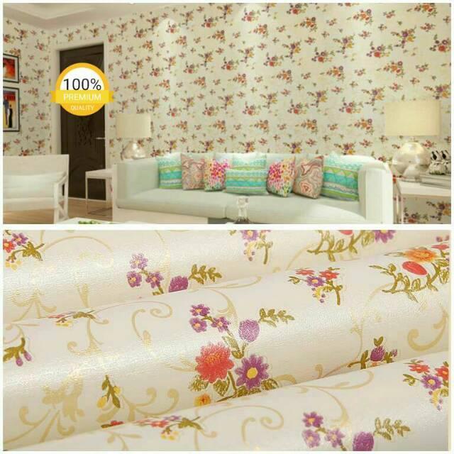Wallpaper Dinding Murah Ruang Tamu Kamar Bunga Kream Gold Ungu Merah Terbagus Indah Terlaris Elegan