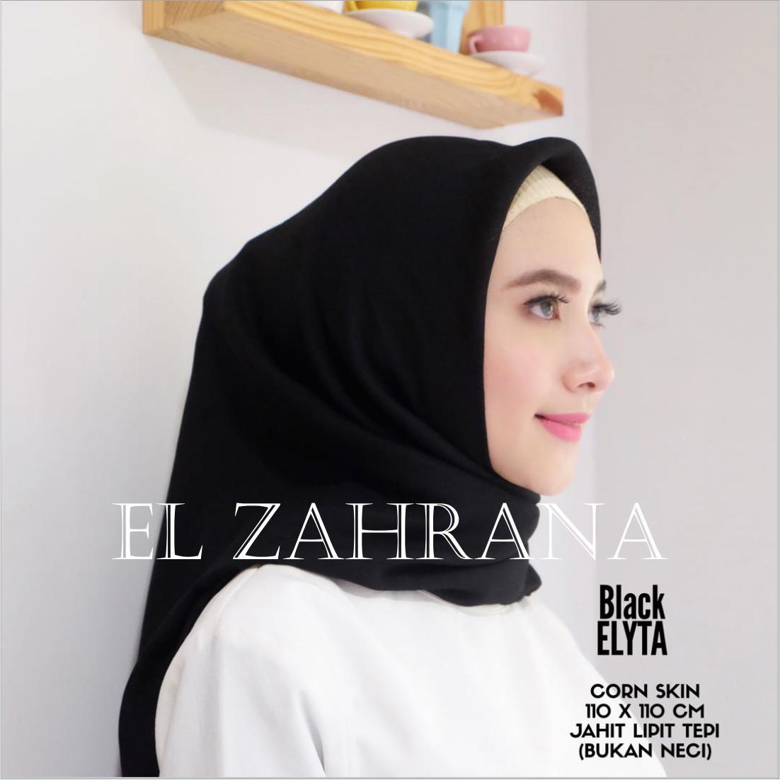 El Zahrana Hijab Square - Kerudung Segi Empat - Hijab Segi Empat - Hijab Polos - Jilbab Segi Empat Polos Corn Skin - Marbel