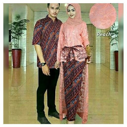 Couple Kebaya Modern Brukat Hanni Peach L Baju Muslim Pasangan Isha GL