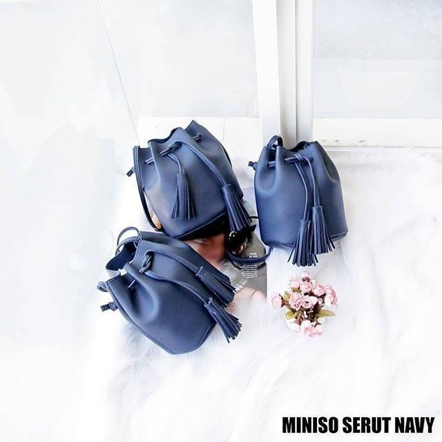 Tas Wanita/ Dompet Wanita/ Dompet Mini/ Dompet Fashion/Tas Selempang/ Tas Bahu Wanita/ Bucket Bag/ Tas serut miniso - Navy