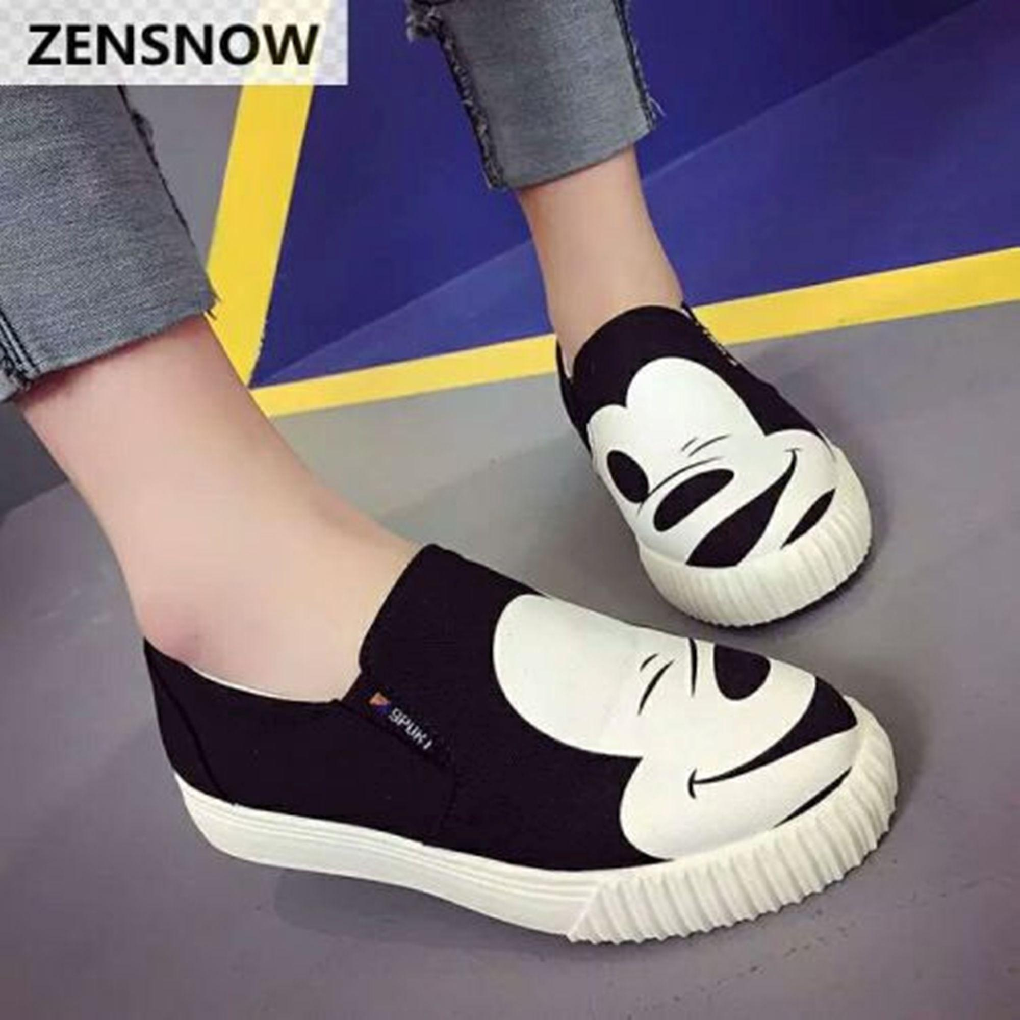 Sepatu Wanita Slop Sport s micki mouse Hitam