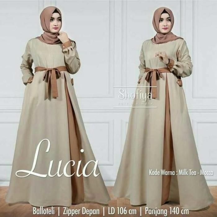 Baju Murah Wanita Gamis Maxi Lucia Dress Milktea / Grosir Baju Jumbo Syar i Kekinian Tanah Abang
