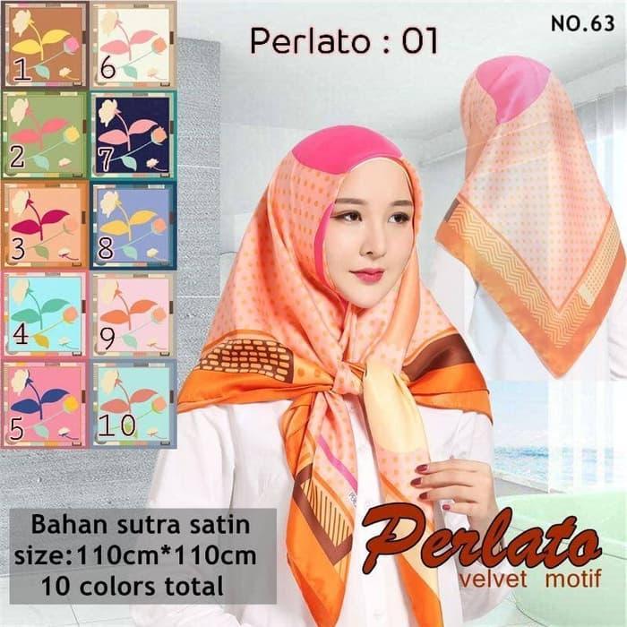Jilbab Hijab Syar'i Segi Empat Satin Velvet Motif Polkadot Bunga Design Cantik Elegan