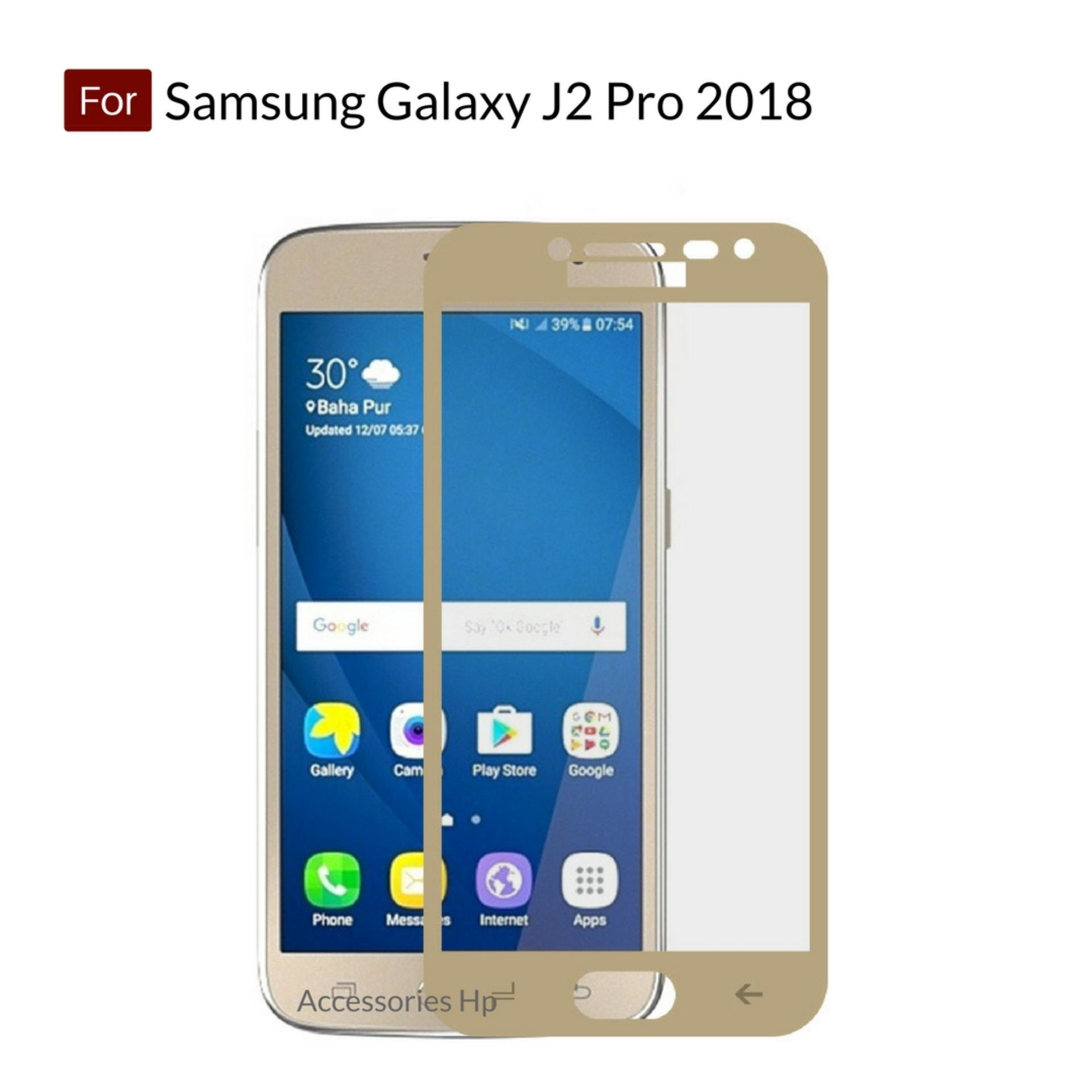 Accessories Hp Full Cover Tempered Glass Warna Screen Protector for Samsung Galaxy J2 Pro 2018 - Gold