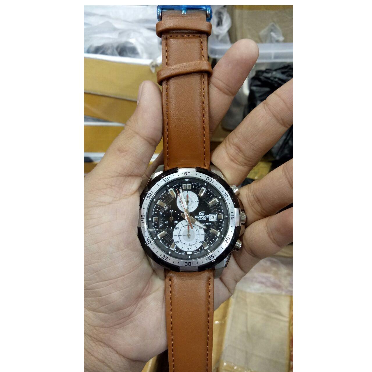 Detail Gambar Jam Tangan Casio Edifice EF 539L - 1AV Leather Brown Dial Black Series Edition Terbaru
