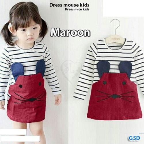 GSD - Minidress Anak Cewek / Dress Mice Maroon