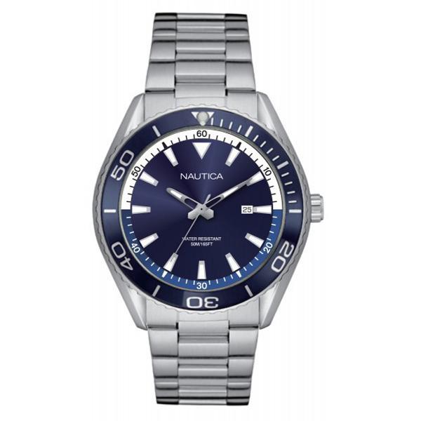 Nautica - Jam Tangan Pria - Silver-Biru - Stainless Steel - NAPN03006