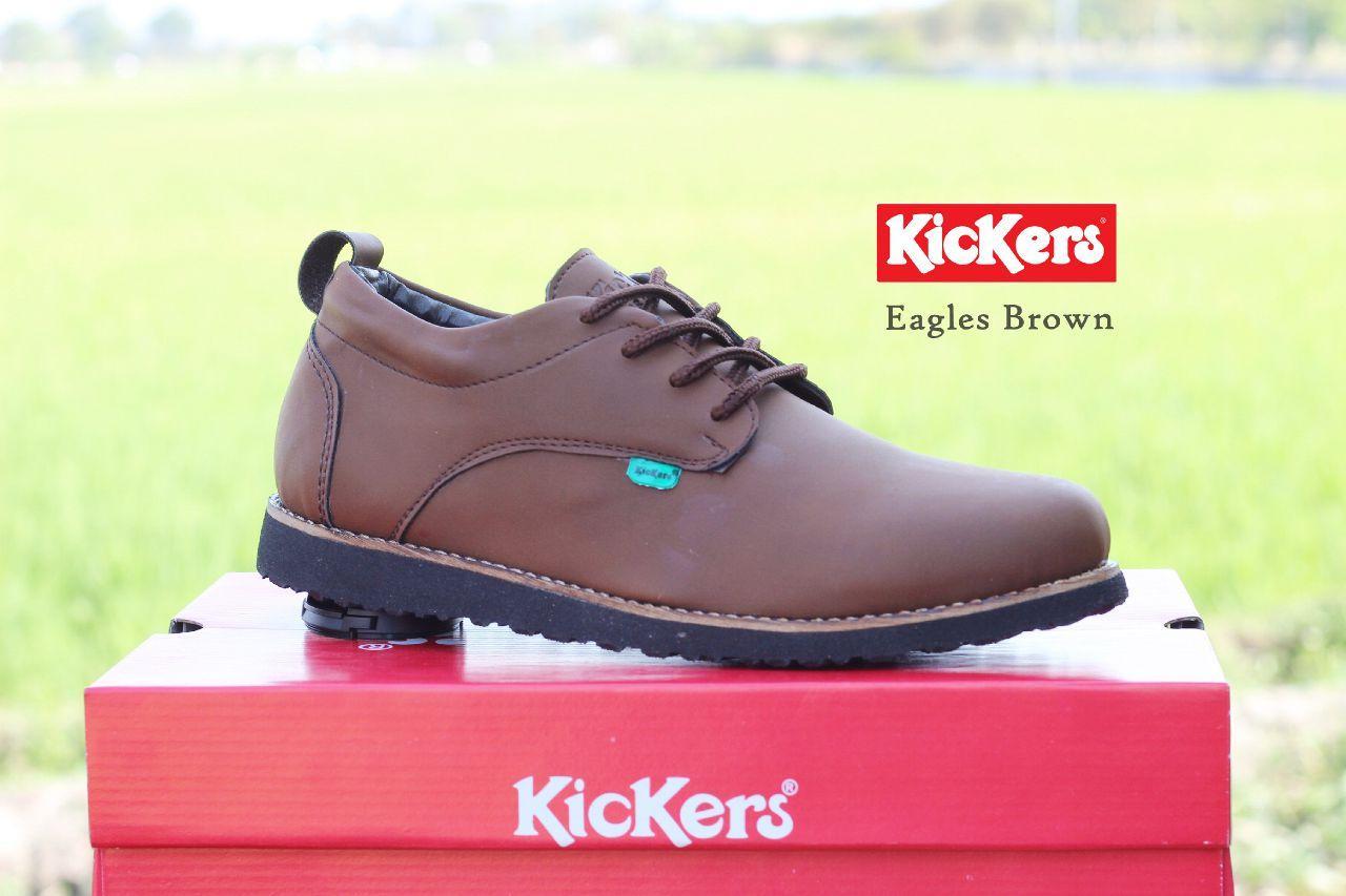 Sepatu Casual Pria Kickers Casual Eagle Kulit Asli - Free Kaos Kaki
