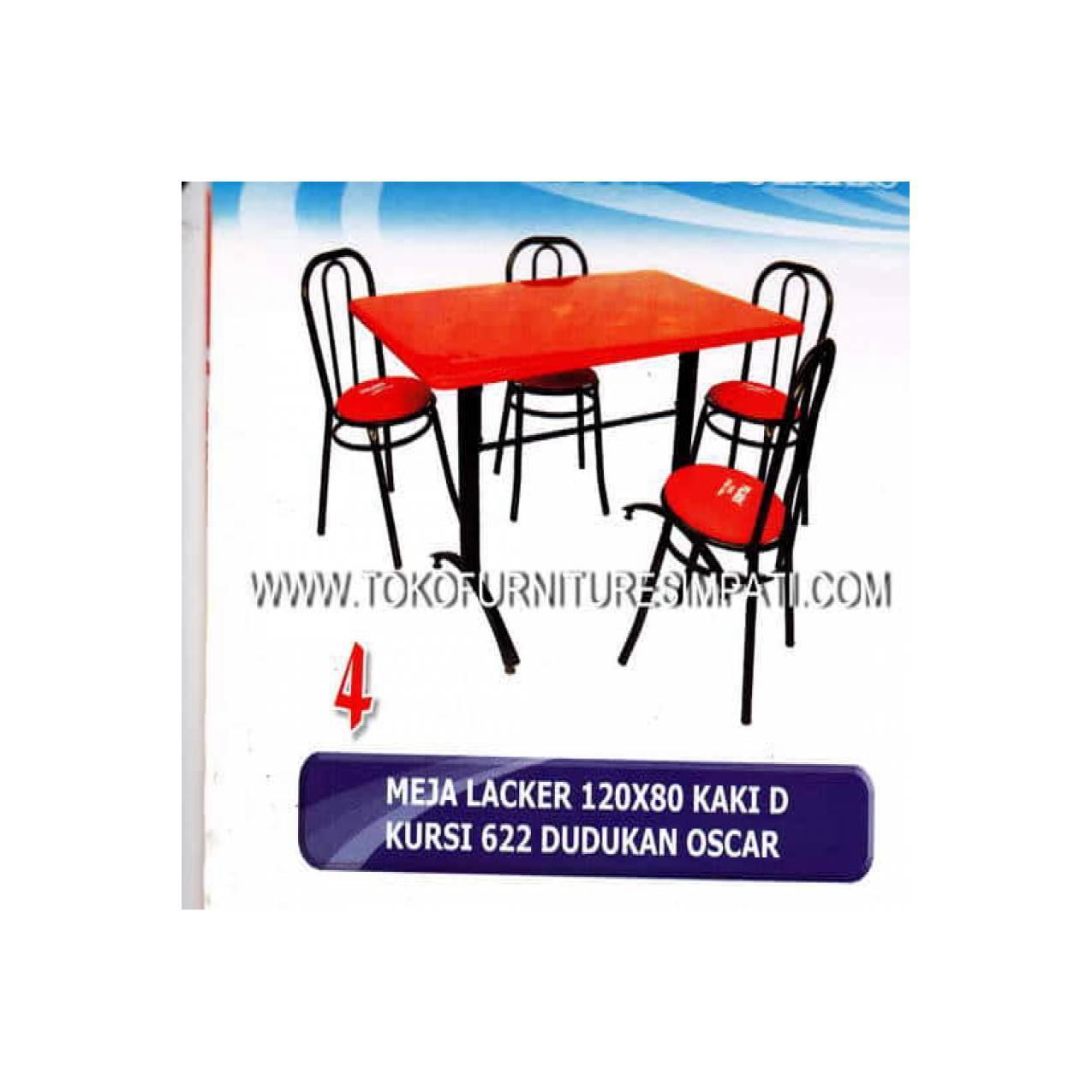 Meja makan besi + 4 kursi KM 622