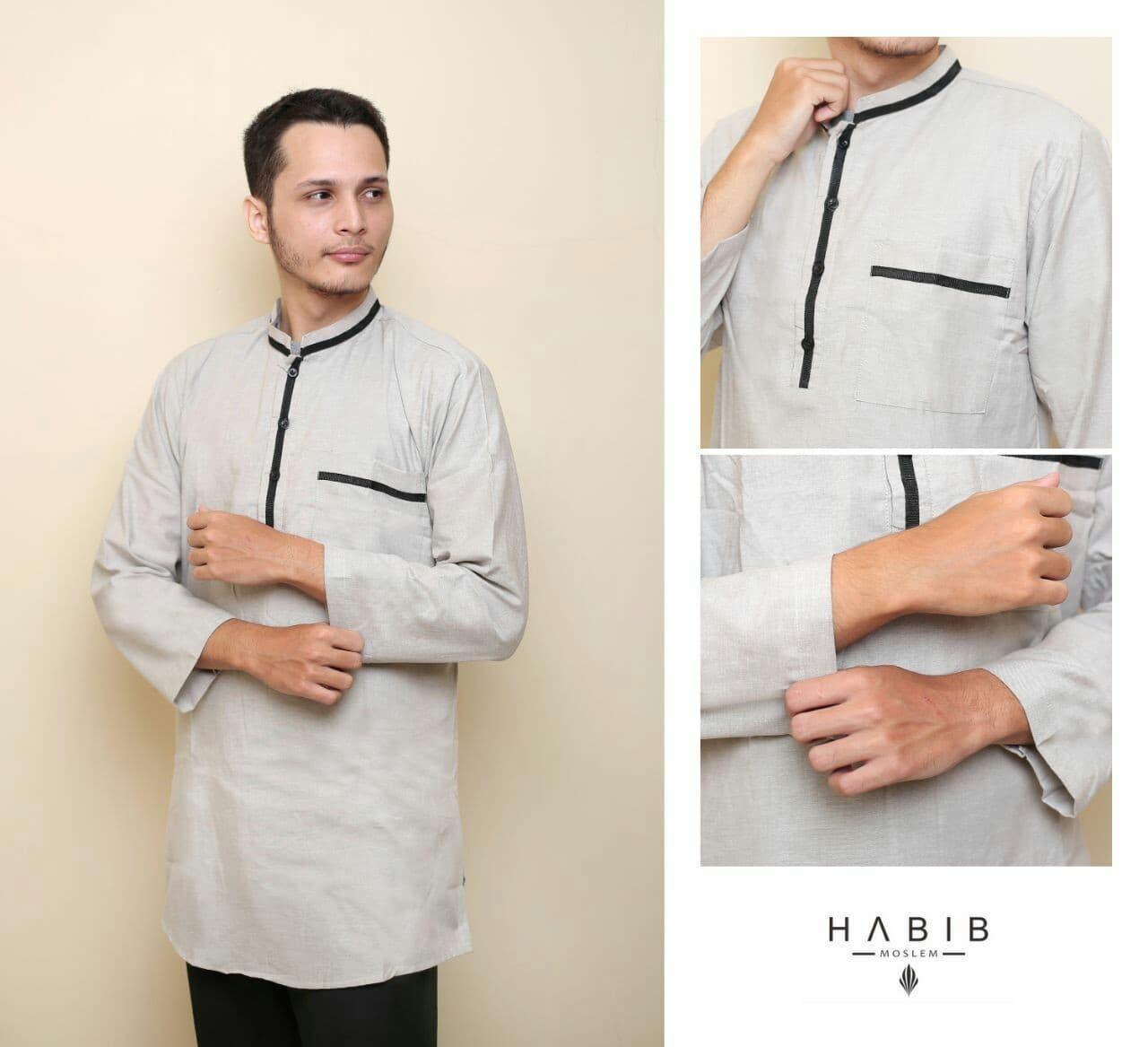 Baju Pria Kemeja Baju Koko Gaul Qurta List Habib Panjang Abu Muda