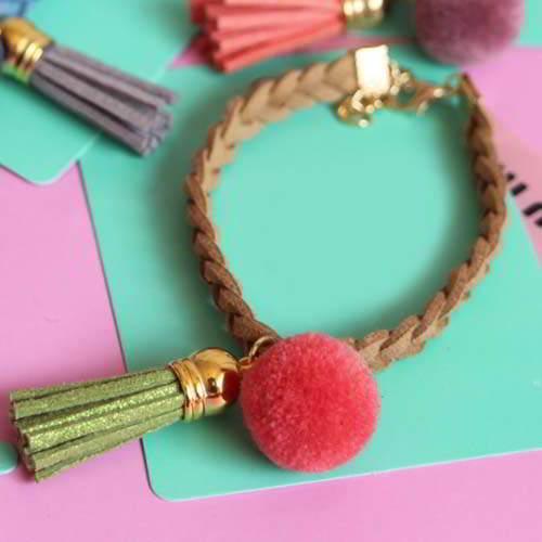 Bangle Jrk Kids Pompom Woven Leather Tassel Bracelet S1m027 By Toko Susu.