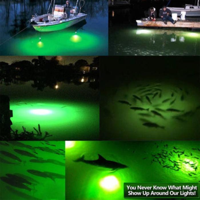 Lampu Mancing Bawah Air (Hijau) - Pemikat Pancing Ikan 10.8W, Kabel 6M - wWzorn