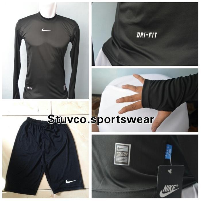 Baselayer Longsleeve Thumbhole Nike Hitam + Celana