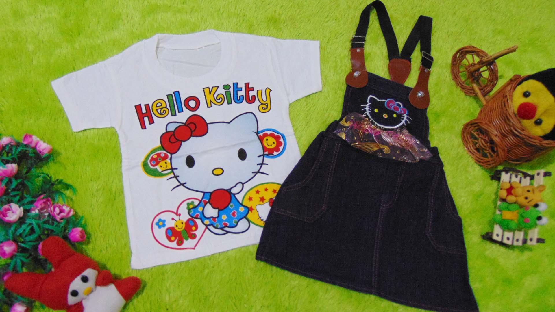 kembarshop - TERLARIS baju pesta bayi perempuan 0-12bulan setelan kaos plus rok kodok jeans hello kitty suspender tali gesper