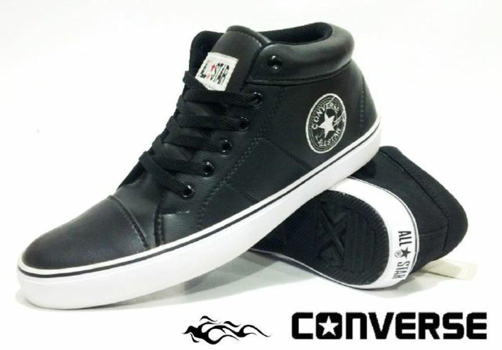 Promo Sepatu Converse All star Semi Kulit hitam putih casual / sepatu sekolah pria dan wanita   Fashion