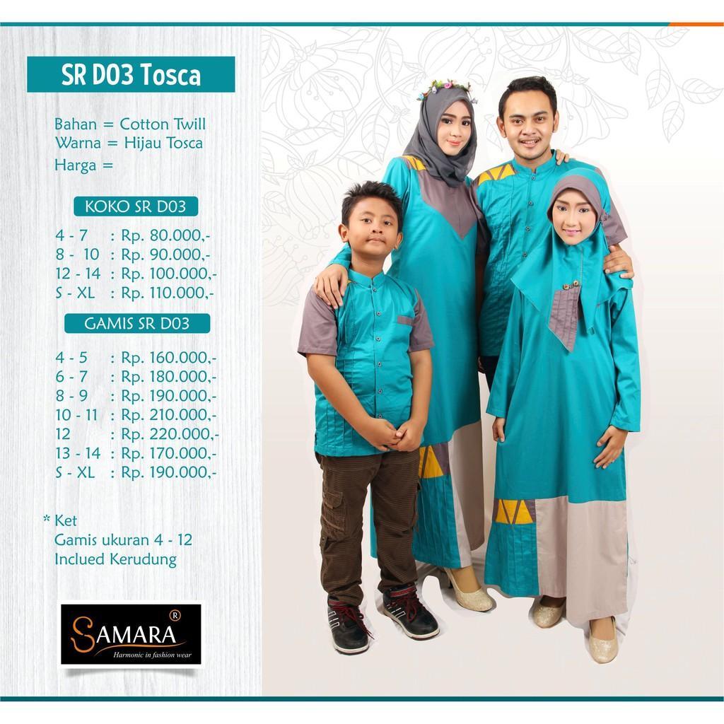 Baju Couple Keluarga Busana Muslim Sarimbit Gamis Syari Koko Pria Anak Wanita Lebaran / SAMARA D03 Koko L