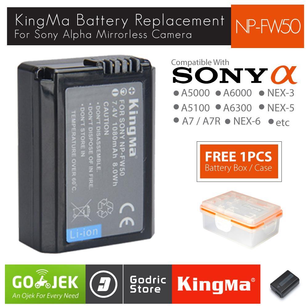 Kingma Baterai NP-FW50 Sony Battery Alpha A7R A7S A5000 A5100 A6000 A6300 NEX-7 NEX-6 Etc
