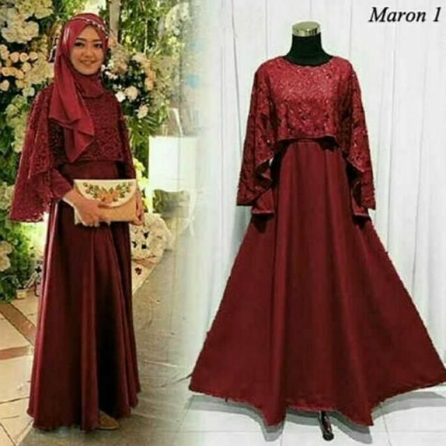 Baju Gamis Syari Murah /Grosir Baju Muslim Murah/Gamis Wolfis Burkat/Dres Murah Wanita /Olivia Syari Mocca