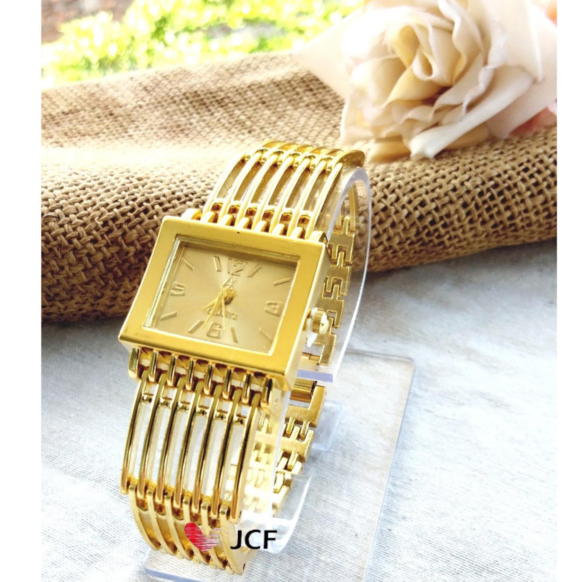 JCF Jam Tangan Emas Analog Fashion Wanita Cantik Mewah - 618 Kotak Gold