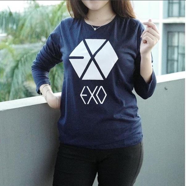 Baju Kaos Lengan Panjang EXO Untuk Cewe Tumblr Tee