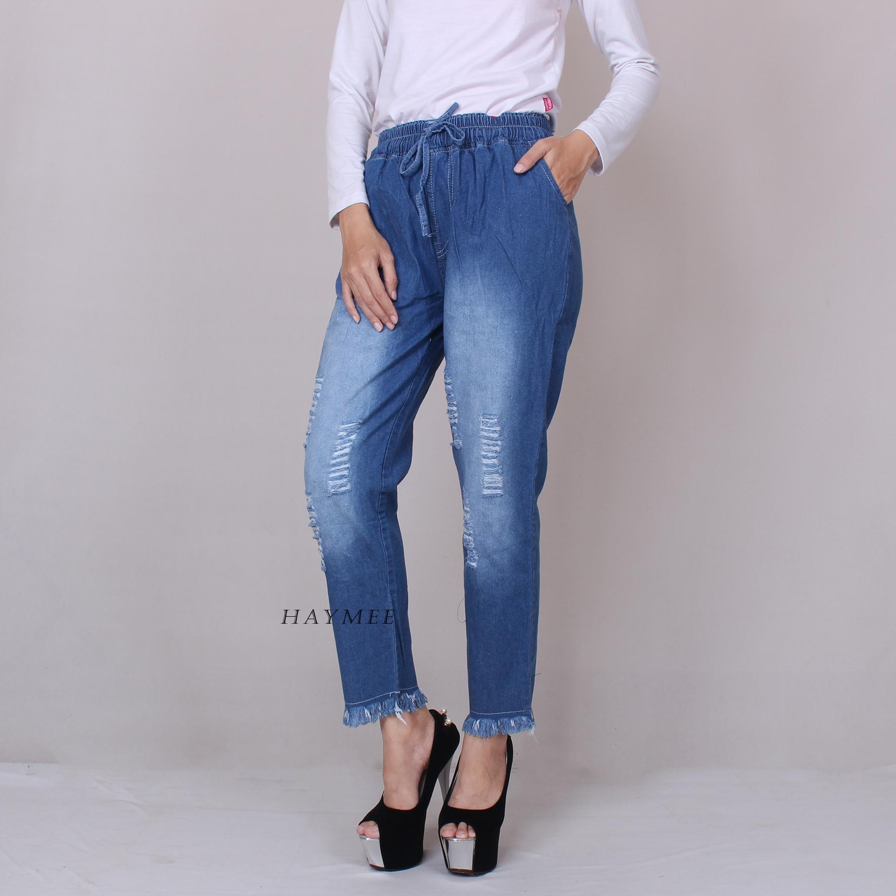 Haymeestore Celana Riwis Boyfriend Bawahan Jeans Wanita Celana Denim Wanita Motif Sobek Blue